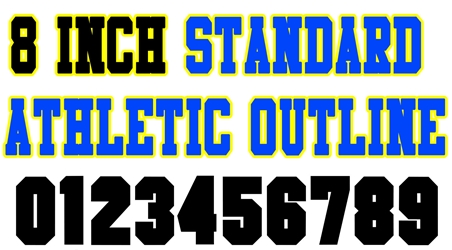 8 Inch Standard Athletic Outline Number Stencils (100 Sheet Packs)
