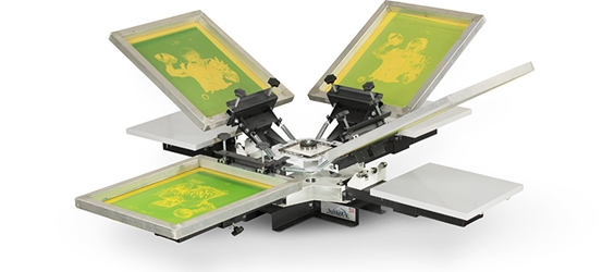 V-100 Tabletop Press 4 Station/4 Color  screen printing, press, vastex, V-100, budget, expandable
