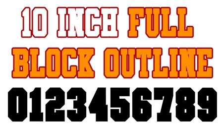 10 Inch Full Block Outline Number Stencils (100 Sheet Packs)
