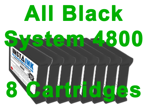All Black Set Insta Ink 4800 Cartridges